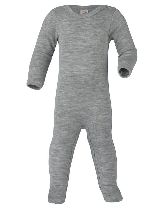 Engel Slaapoverall wol/zijde grijs, met drukknopjes langs de benen 70 9160