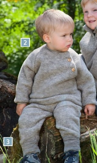 Engel Natur Engel Natur Raglan sweater Wol Fleece met knoopjes - Licht grijs melange (091)