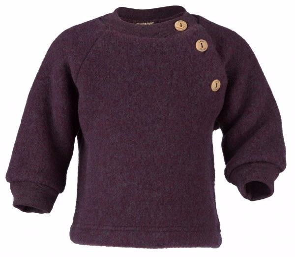 Engel Natur Engel Natur Raglan sweater Wol Fleece met knoopjes - Paars melange (059E)