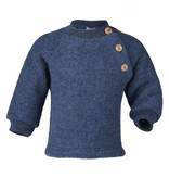 Engel Natur Engel Natur Raglan sweater Wol Fleece met knoopjes - Blauw melange (80)