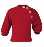 Engel Natur Engel Natur Raglan sweater Wol Fleece met knoopjes - Rood melange (060)