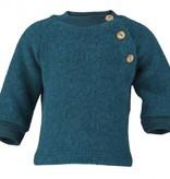 Engel Natur Engel Natur Raglan sweater Wol Fleece met knoopjes - Petrol melange (36)