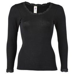 Engel Natur Dames shirt lange mouw wol/zijde met kant rond de hals en armen