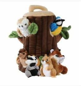 Puppet Company Boomhuis met 6 stoffen dieren
