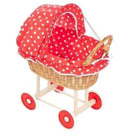 Poppenwagen Riet - Rood met witte stip en plastic wielen