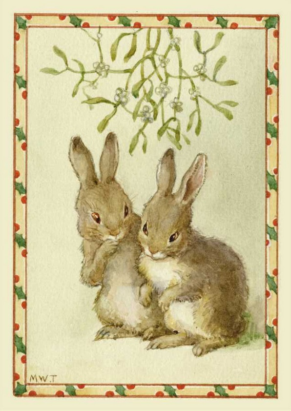 Margaret Tarrant, Shall us? Two rabbits under the mistletoe PCE 196
