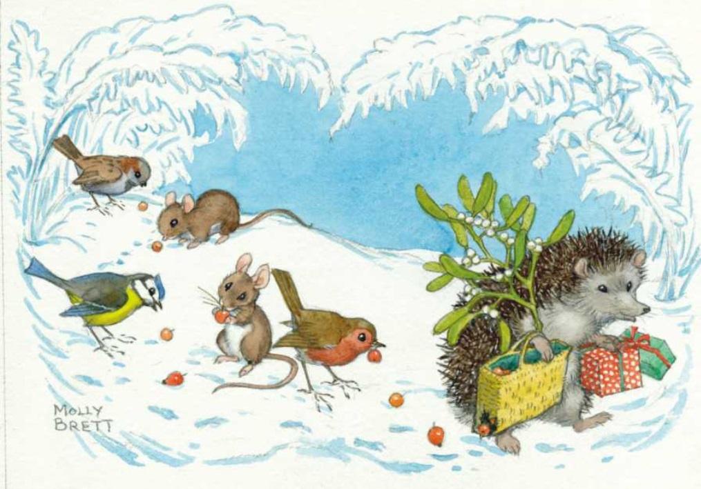 Molly Brett, Hedgehog carrying mistletoe and presents PCE 194