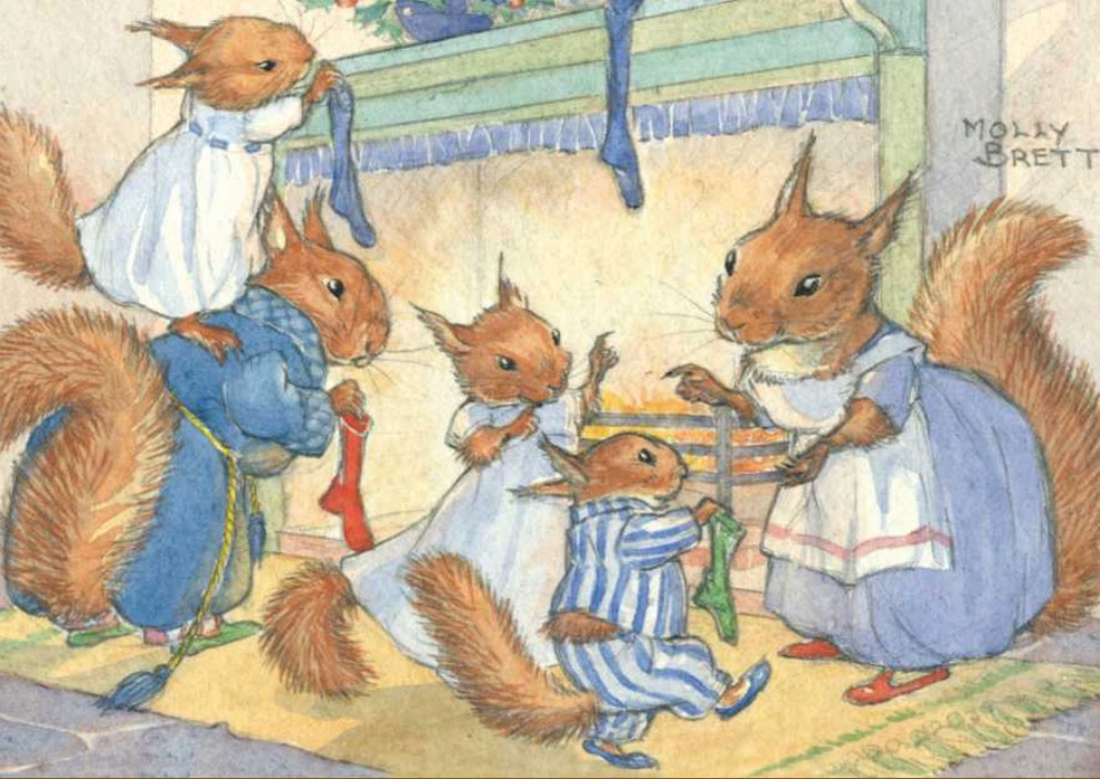 Molly Brett, A family of squirrels hang up their Christmas stockings PCE 193