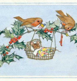 Molly Brett, Robins and mouse at Christmas PCE 185
