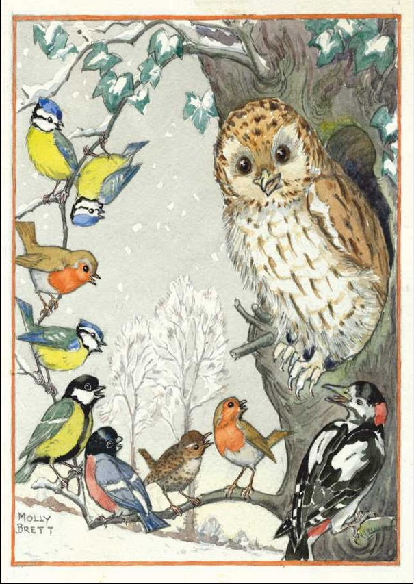 Molly Brett, An owl and other birds PCE 177