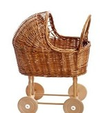 Egmont Toys Poppenwagen Riet met houten wielen en bekleding