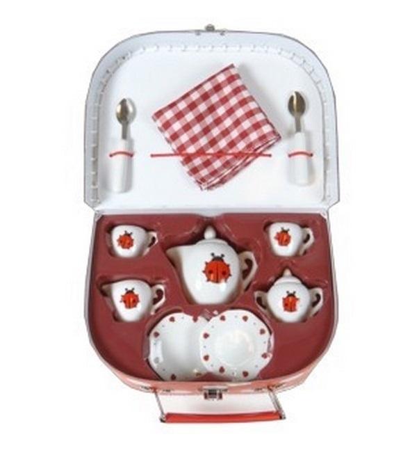 Servies Porcelein Lieveheersbeest in koffer