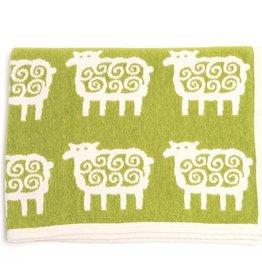 Klippan Klippan Ledikant deken - Cotton Chenille - Schaapjes - Groen