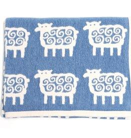 Klippan Klippan Ledikant deken - Cotton Chenille - Schaapjes - Blauw (03)