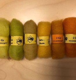 Bheda wool Bhedawol Set - Mini 6 stuks 2 gr. - Oranje/Geel/Groen