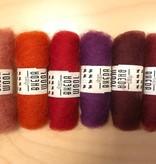 Bheda wool Bhedawol Set - Mini 6 stuks 2 gr. - Oranje/Rood/Paars