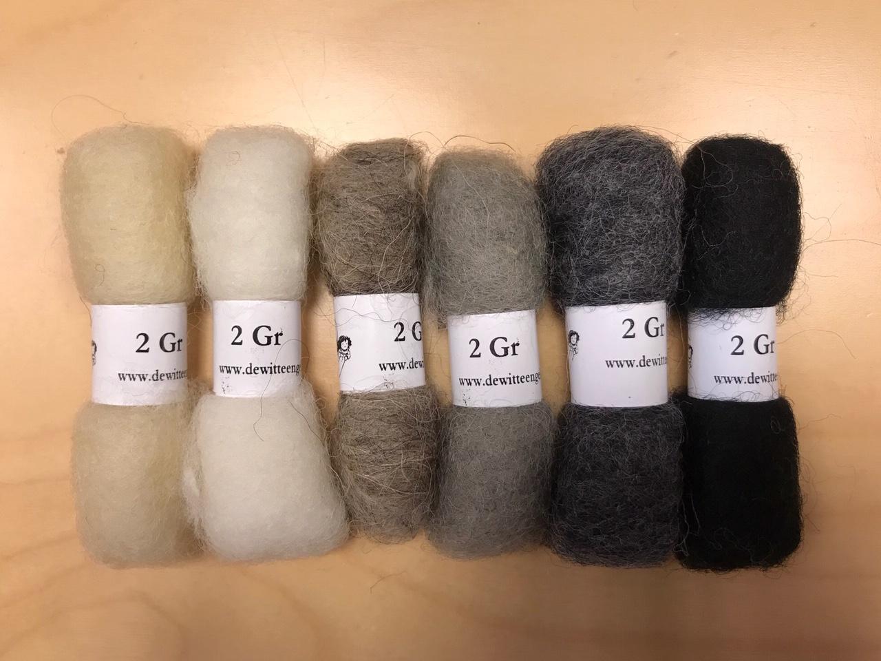 Bheda wool Bhedawol Set - Mini 6 stuks 2 gr. - Wit/Grijs/Zwart