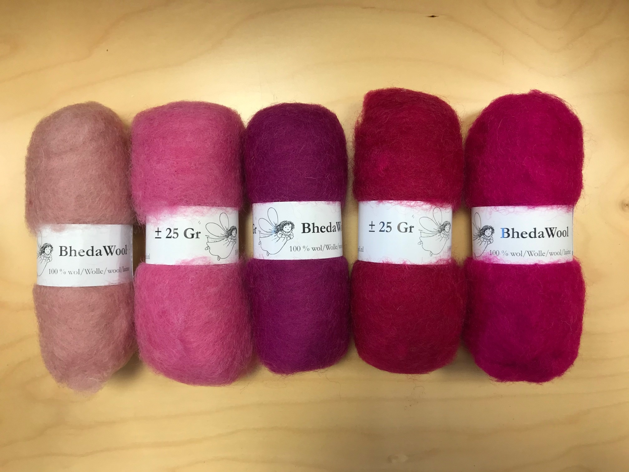 Bheda wool Bhedawol Set - 5 stuks van  25 gr. - Roze