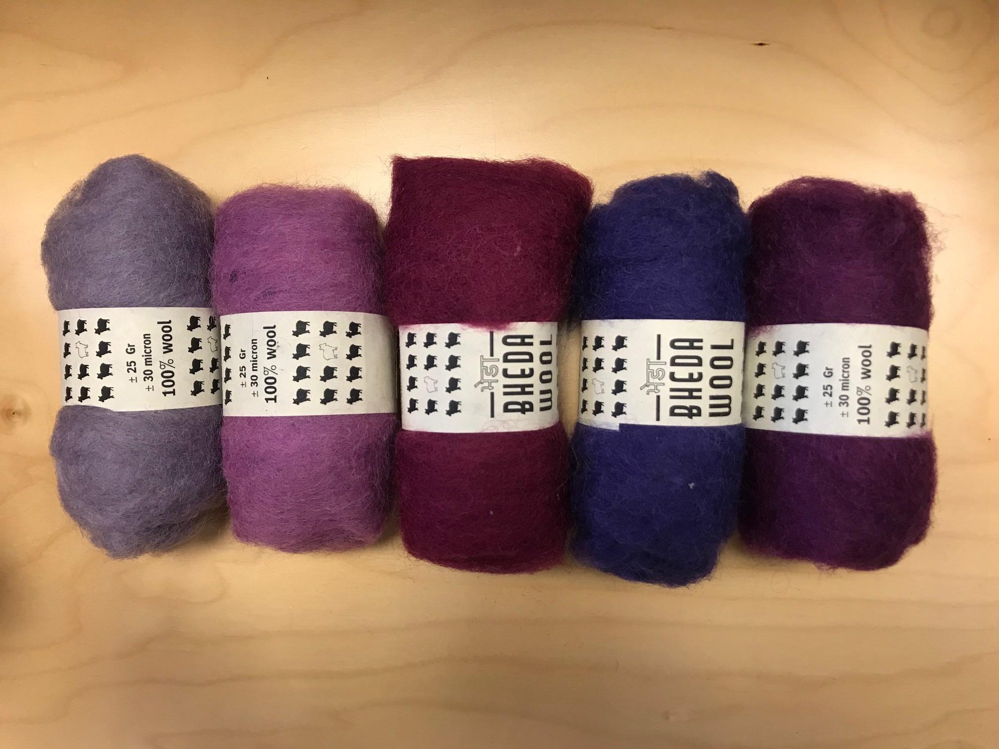 Bheda wool Bhedawol Set - 5 stuks van  25 gr. - Paars