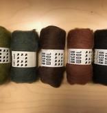 Bheda wool Bhedawol Set - 5 stuks van  25 gr. - Groen/Bruin