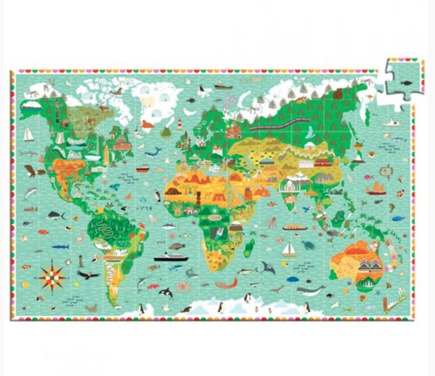 Djeco Djeco Observatiepuzzel - Reis rond de wereld 200 pcs 6y+