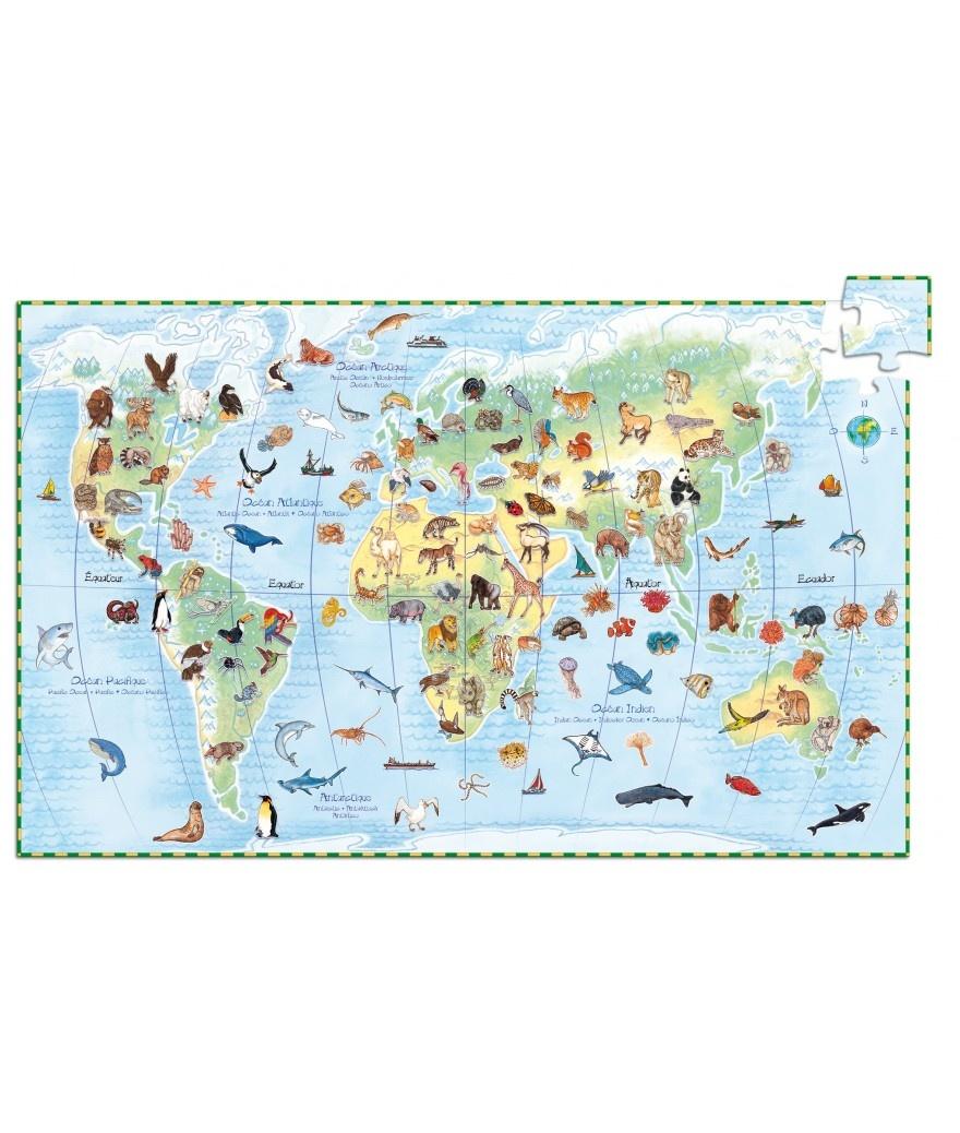 Djeco Djeco Observatiepuzzel - De Dieren van de Wereld 100pcs 5y+