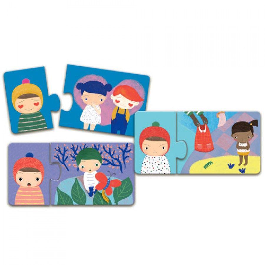 Djeco Djeco Duo puzzel - Emoties - 8 puzzels 3y+