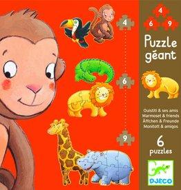 Djeco Djeco Puzzle Géant - Marmoset en vrienden - 6 puzzels 2y+