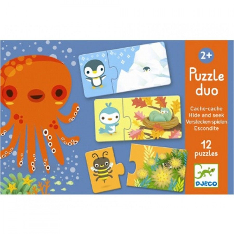Djeco Djeco Duo puzzel - Verstoppertje - 12 puzzels 2y+