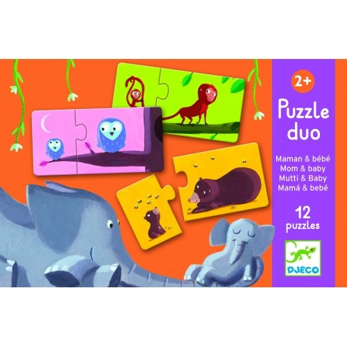 Djeco Djeco Duo puzzel - Mama en baby - 12 puzzels 2y+