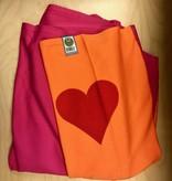 ByKay ByKay Draagdoek Strechy - Oranje/Roze met hartje - Medium