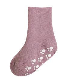 JOHA Joha Wollen sokken met Anti-slip - Oud roze (15715)