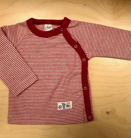 Lilano Lilano overslag trui - Wol/Zijde  - Gestreept Naturel/Rood