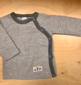 Lilano Lilano overslag trui - Wol/Zijde  - Gestreept Naturel/Grijs