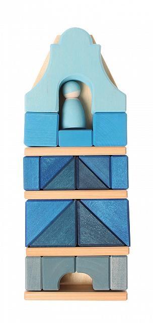 Grimms Grimms Bouw elementen set -  Frame House -  Blauw - 24-delig