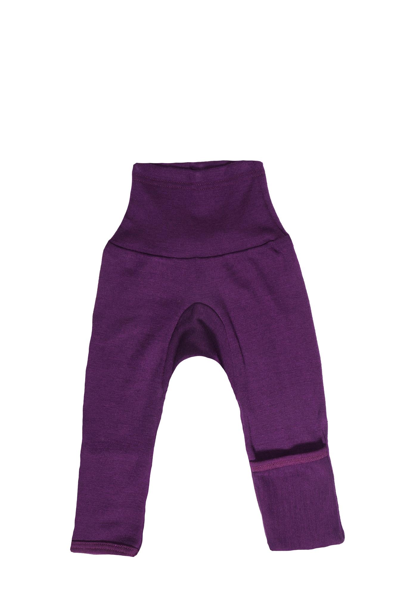 Cosilana Cosilana babylegging Wol/Zijde,  met omslag voor de voetjes - Pruim (23)