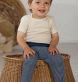 Cosilana Cosilana babylegging Wol/Zijde,  met omslag voor de voetjes - Gestreept Pruim (123)