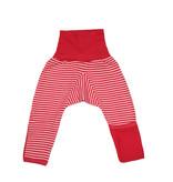 Cosilana Cosilana babylegging Wol/Zijde,  met omslag voor de voetjes - Gestreept Rood (124)