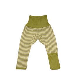 Cosilana Cosilana babylegging Wol/Zijde,  met omslag voor de voetjes - Gestreept Groen (121)
