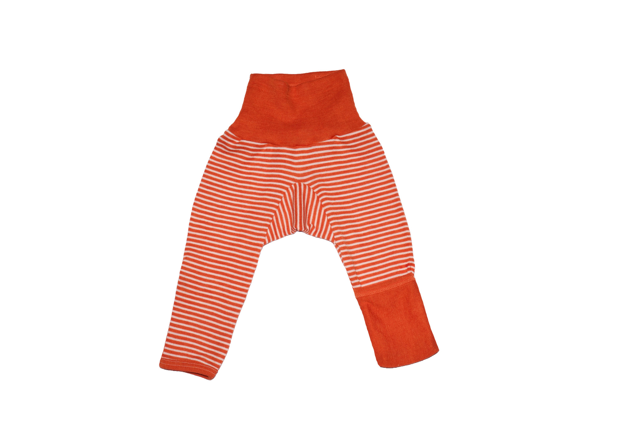 Cosilana Cosilana babylegging Wol/Zijde,  met omslag voor de voetjes - Gestreept Roze (130)