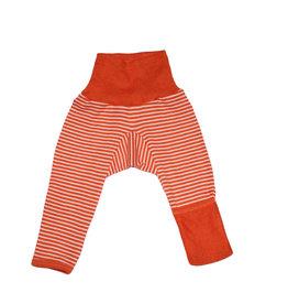 Cosilana Cosilana babylegging Wol/Zijde,  met omslag voor de voetjes - Gestreept Saffraan/Oranje (129)