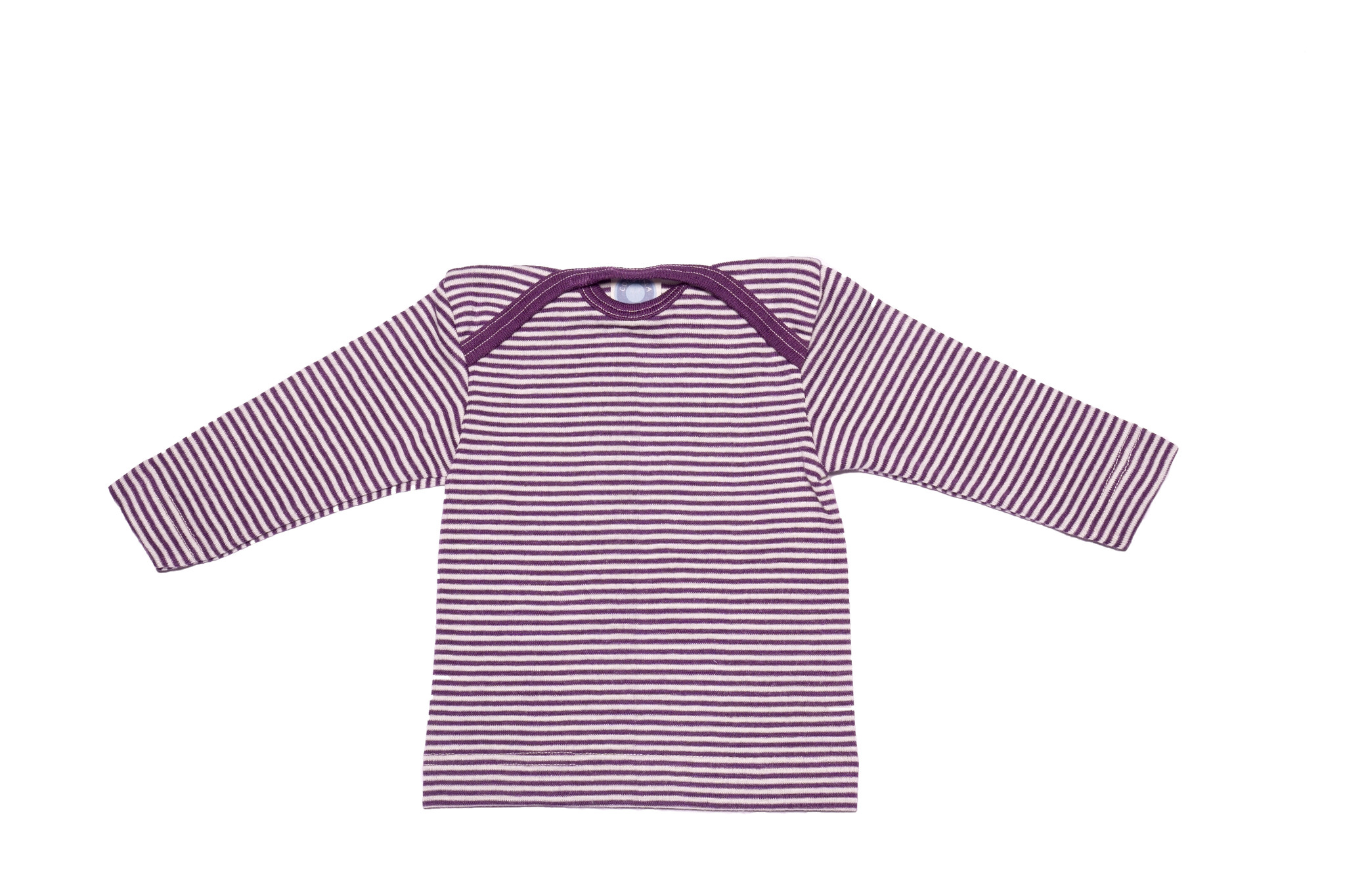 Cosilana Cosilana Babyhemdje Wol/Zijde lange mouw - Gestreept Pruim (123)