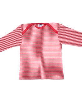 Cosilana Cosilana Babyhemdje Wol/Zijde lange mouw - Gestreept Rood (124)