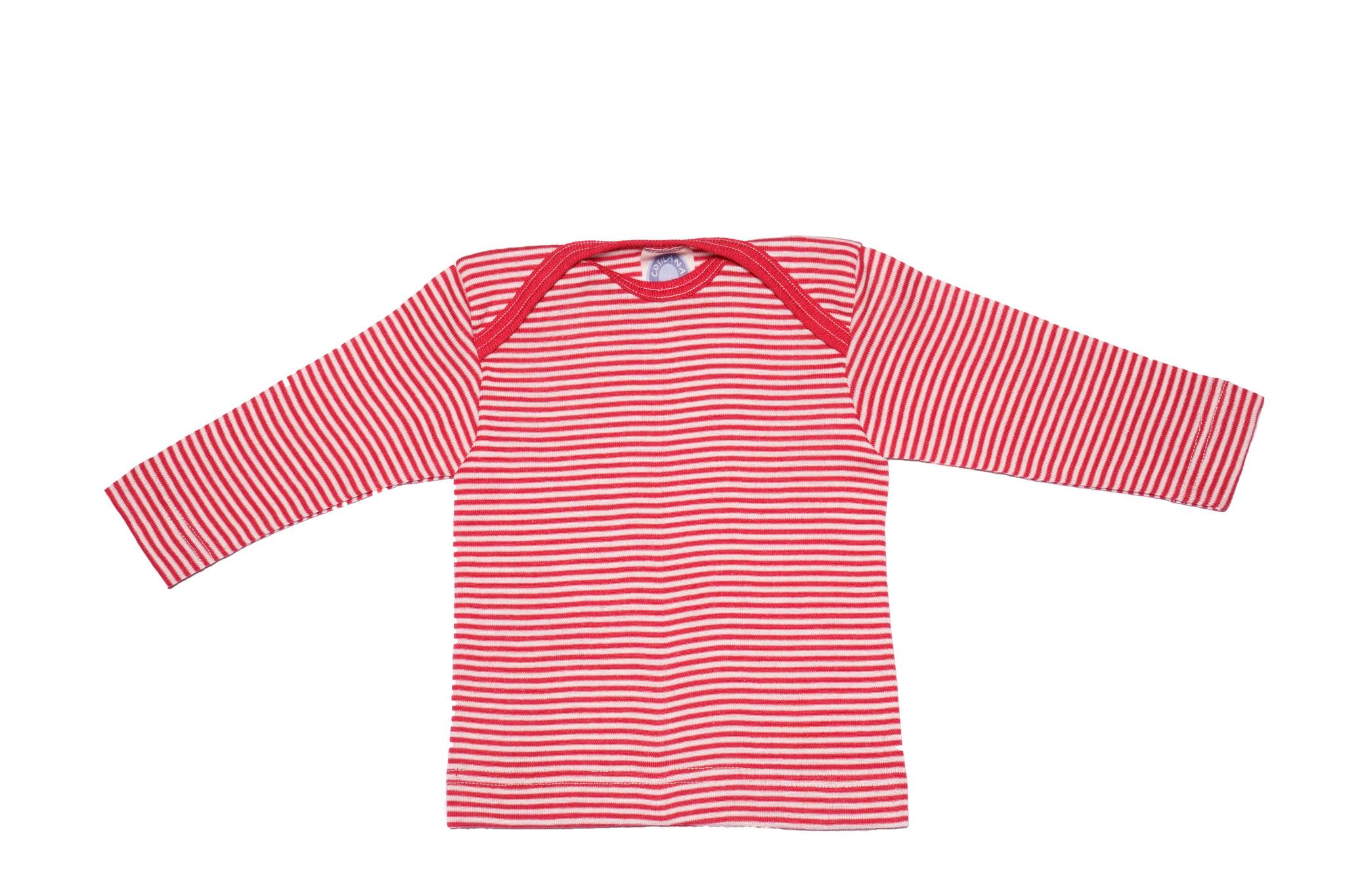 Cosilana Cosilana Babyhemdje Wol/Zijde lange mouw - Gestreept Rood (124) - CopyaCosilana Babyhemdje Wol/Zijde lange mouw - Gestreept Bruin (125)