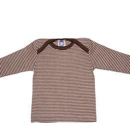 Cosilana Cosilana Babyhemdje Wol/Zijde lange mouw - Gestreept Bruin (125)
