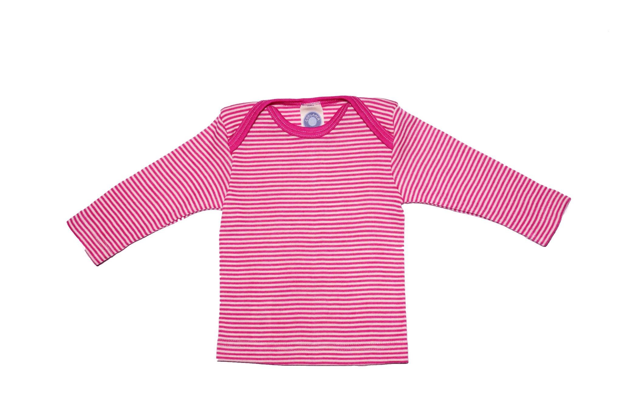 Cosilana Cosilana Babyhemdje Wol/Zijde lange mouw - Gestreept Roze (30)