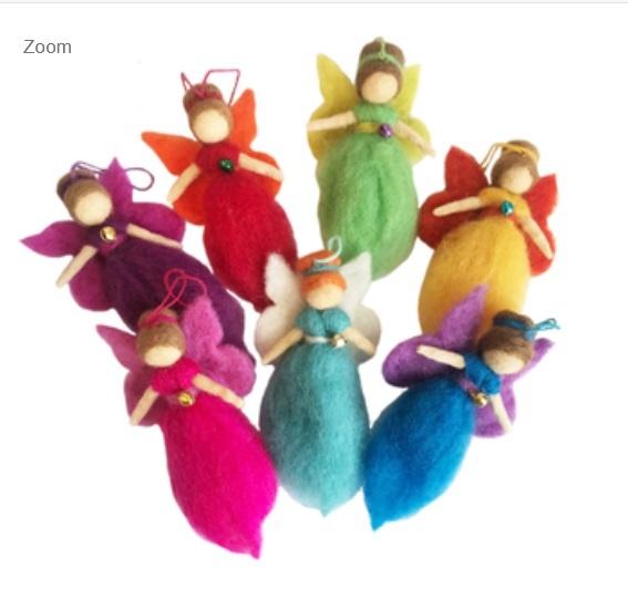 Regenboog Elfje/Engel hanger met belletje