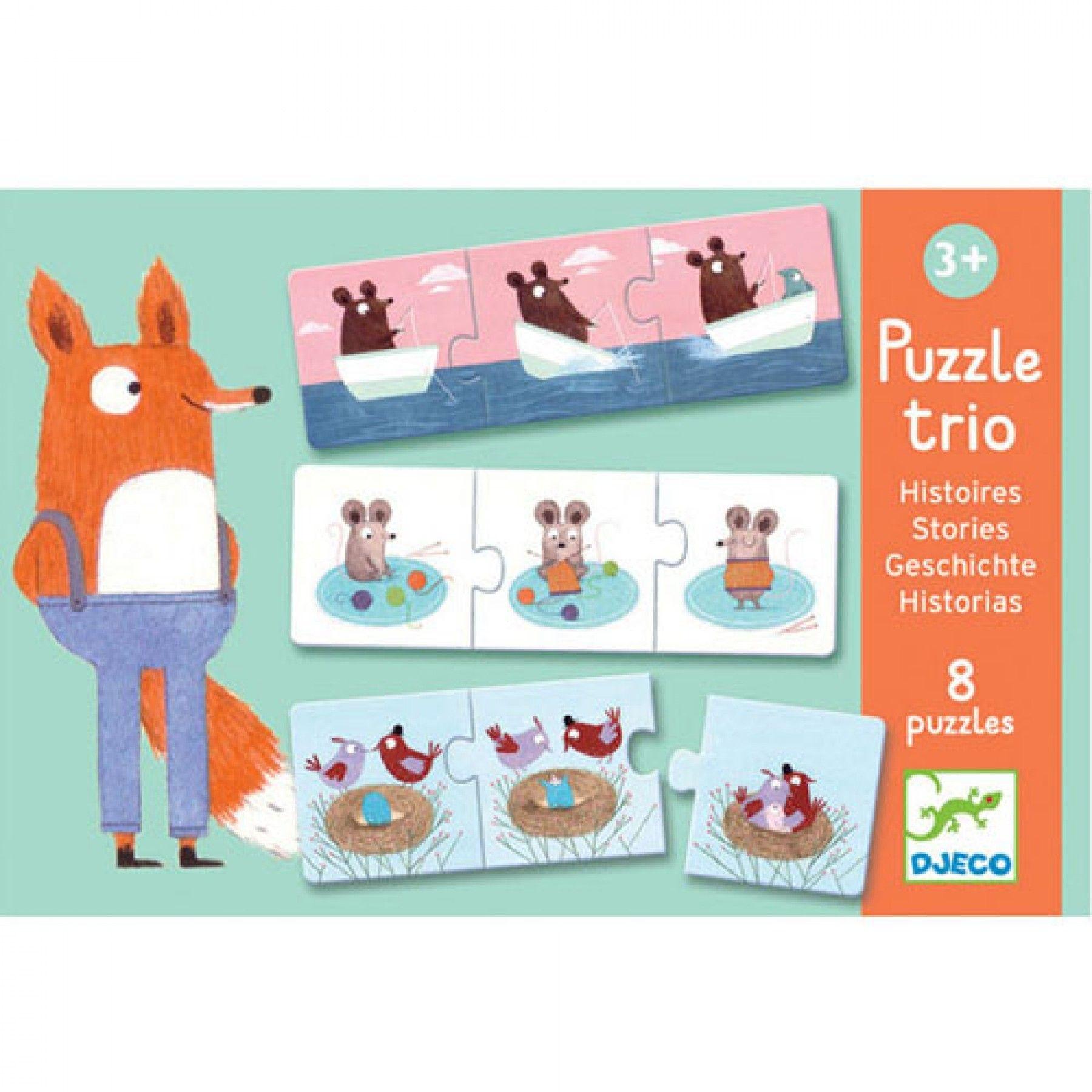 Djeco Djeco Duo puzzel - Drie kleine verhaaltjes - 8x3 stuks 3y+