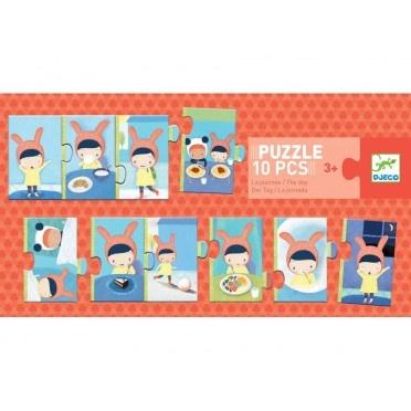 Djeco Djeco Duo puzzel - Vrolijk verhaal - Het verloop van een dag - 10 stukjes 3y+