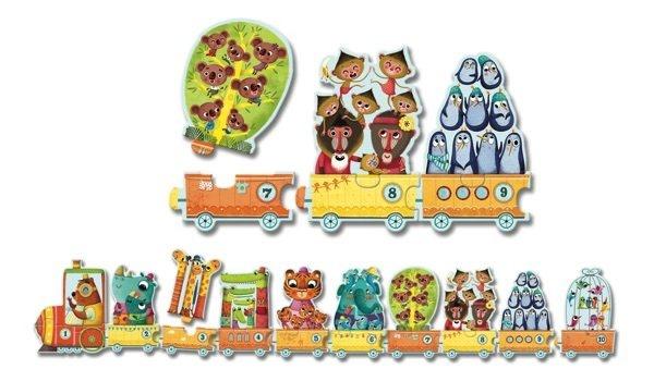 Djeco Djeco Duo puzzel - Vrolijke trein - Ik tel! - 20 stukjes 3y+